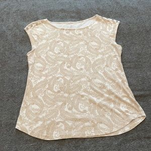 Liz Claiborne Paisley Print Capped Sleeve T Shirt